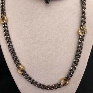 Stella & Dot hematite chain necklace